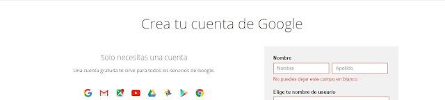 Nombre y Apellido al crear cuenta de Gmail.