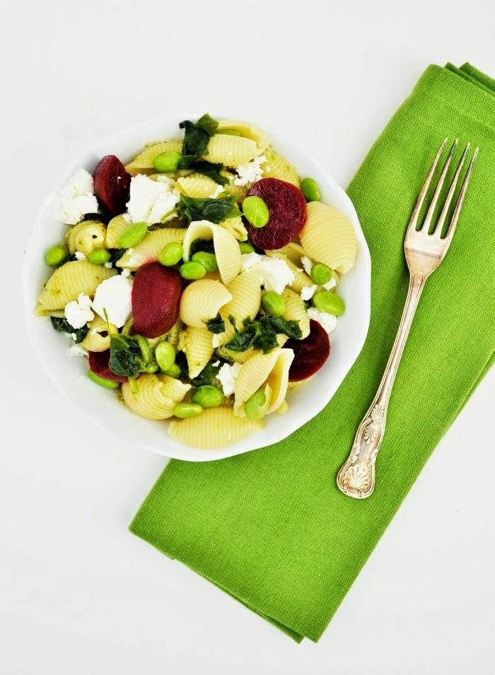 Edamame, Feta and Beet Pasta Salad - a one pot pasta salad