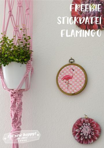 kostenlose Stickdatei Flamingo Stickbild