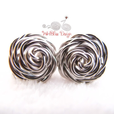 Wire wrapped rose studs by WireBliss