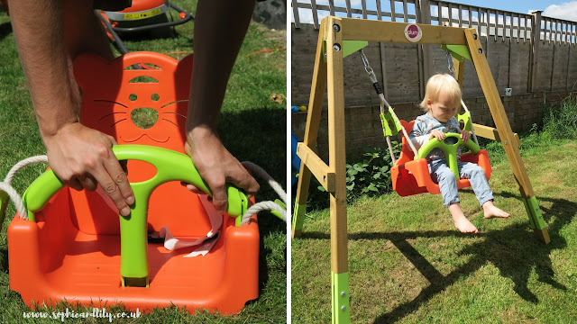 Plum Wooden Growing Swing set; bright lime green and orange baby seat