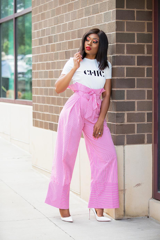 graphic tee and high-waist stripe pants, www.jadore-fashion.com