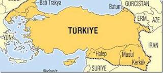 """O χάρτης της """"Νέας Τουρκίας"""" όπως τον δημοσίευσε η Μιλιέτ."""