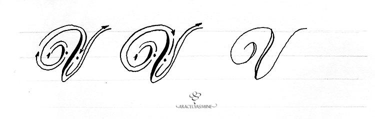 caligrafia copperplate letra V como escribir alfabeto