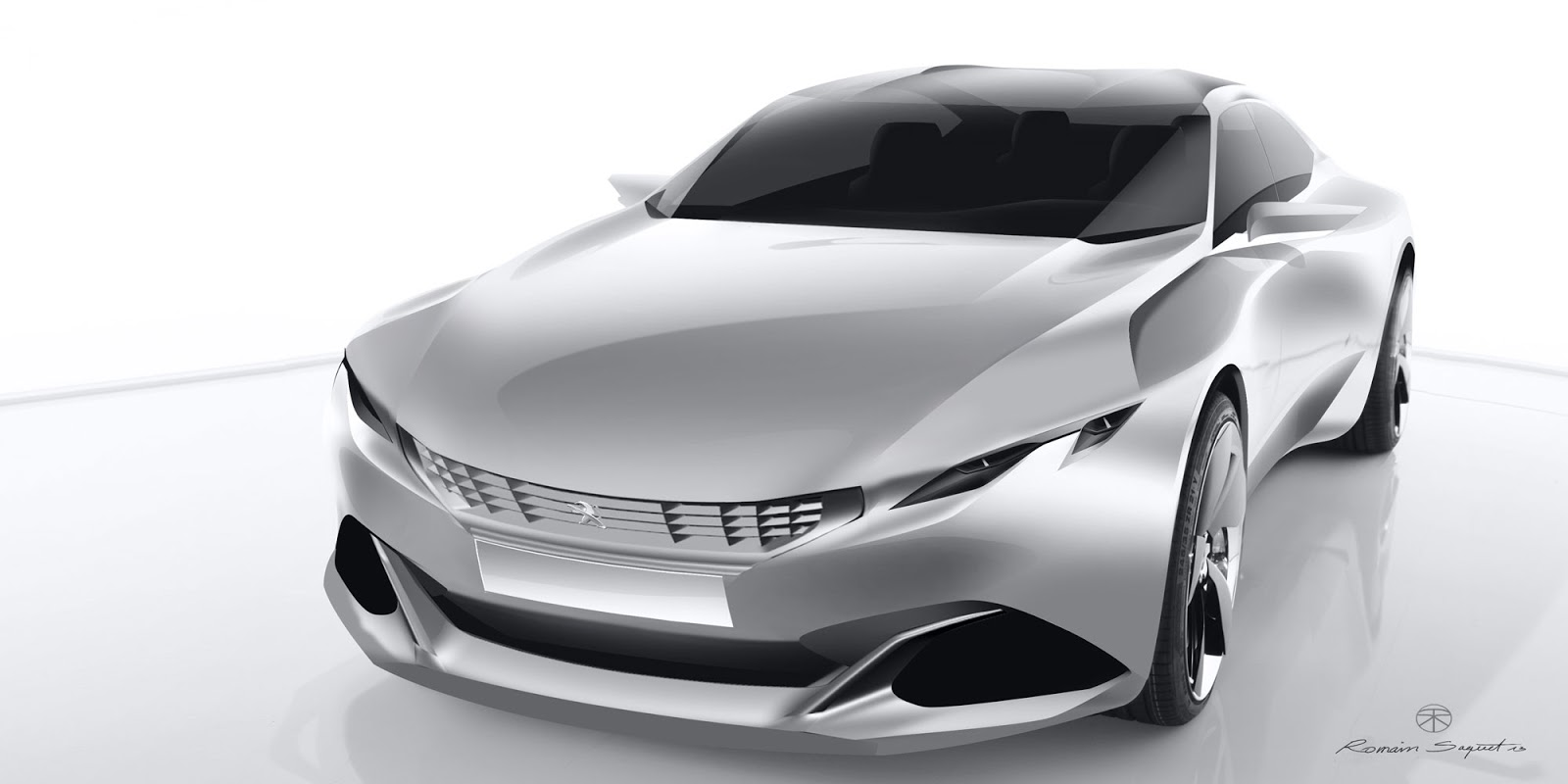 Peugeot Exalt concept front view, render by Romain Saquet
