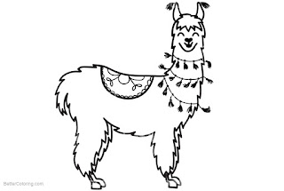 Beauty Llama Coloring Sheet