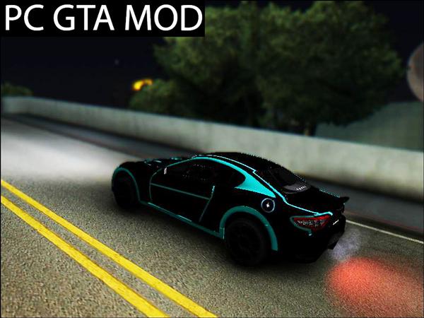 Free Download Maserati GranTurismo Tron Mod for GTA San Andreas