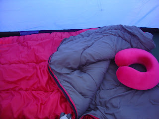 camping, catalina island, sleeping bag, neck pillow
