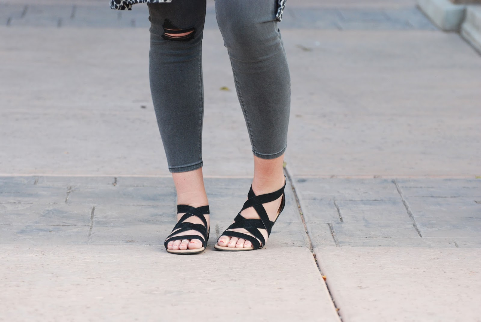 Brian James Footwear, Black Strappy Sandals, Ripped Jeans