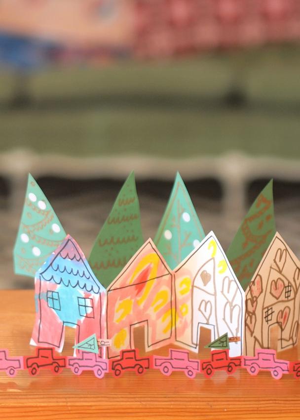 Diy Paper Chain Christmas Village Pink Stripey Socks