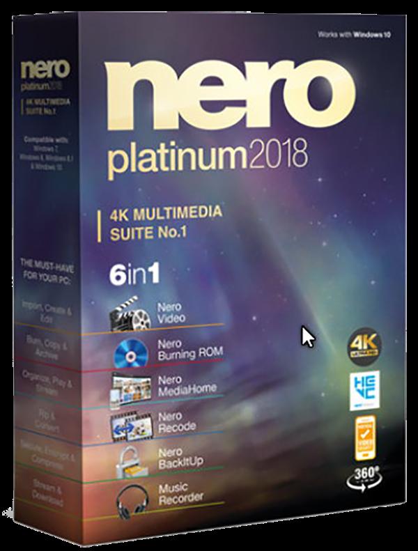 Nero 2018 Platinum 19.0.10200 + ContentPack 1 y 2 Español