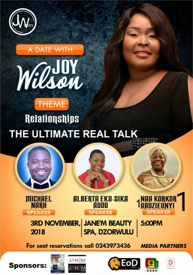 #RelationshipTalk: A Date With Joy Wilson set for November 3