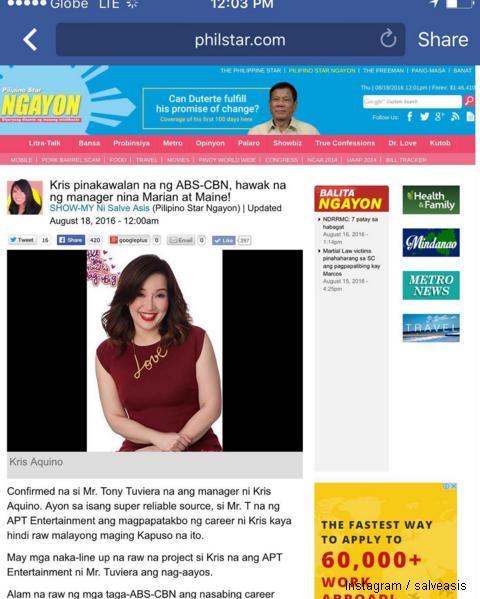 Kris Aquino transfers management