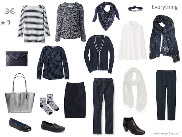 Travel capsule wardrobe in a navy, white, and grey color palette