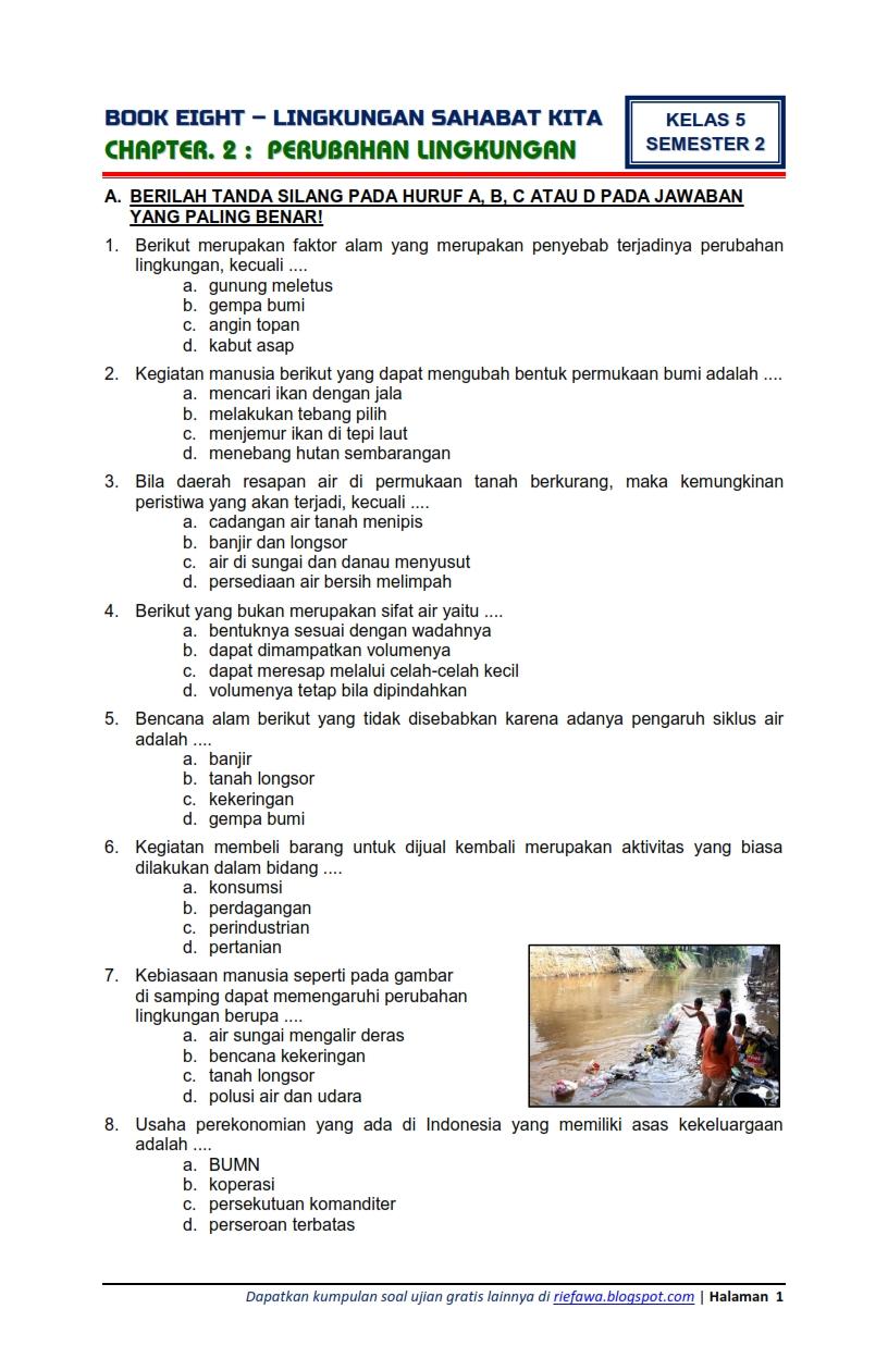 Download Soal Tematik Kelas 5 Semester 2 Tema 8 Subtema 2 Lingkungan Sahabat Kita Perubahan Lingkungan Edisi Terbaru Rief Awa Blog
