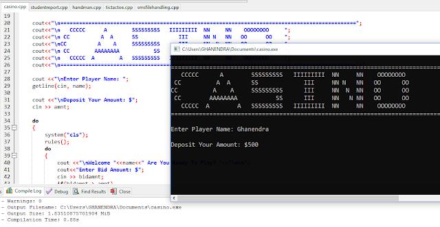 casino game code in c++