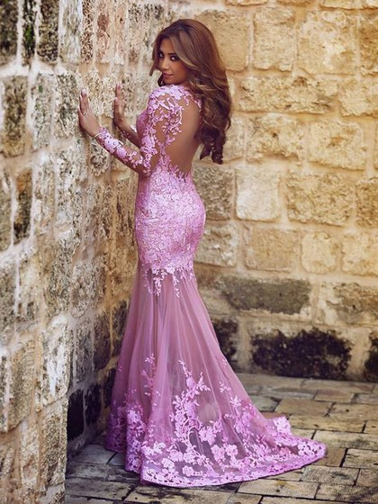 Trumpet/Mermaid Scoop Neck Tulle Appliques Lace Long Sleeve Fashion Prom Dress