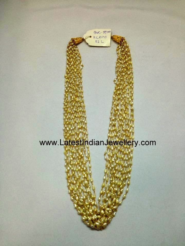 Rice Pearl Beads Gold Necklace Latest Indian Jewellery