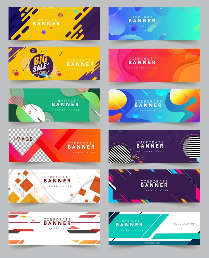 Business banners templates collection colorful abstract geometric decor Free vector