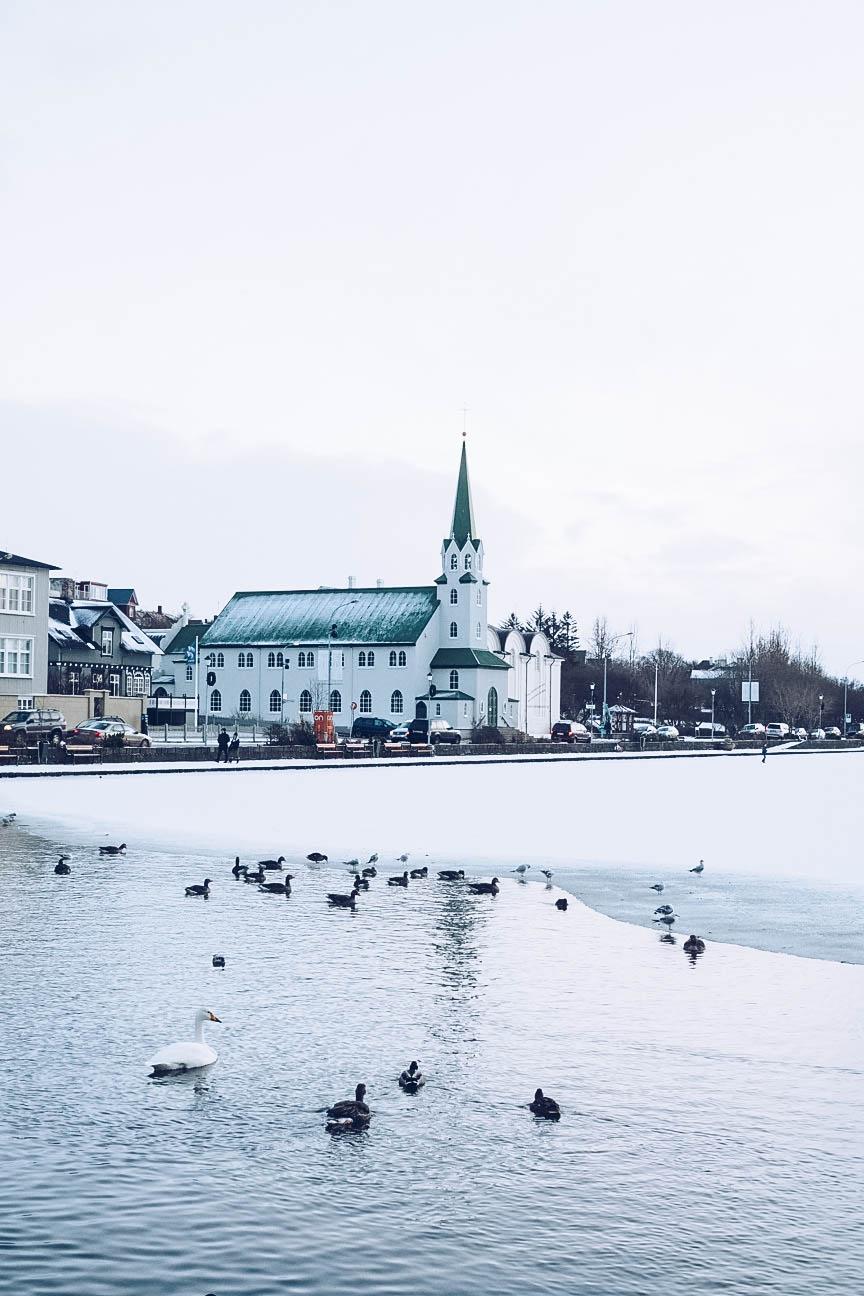 Frozen Tjörnin lake in Reykjavik
