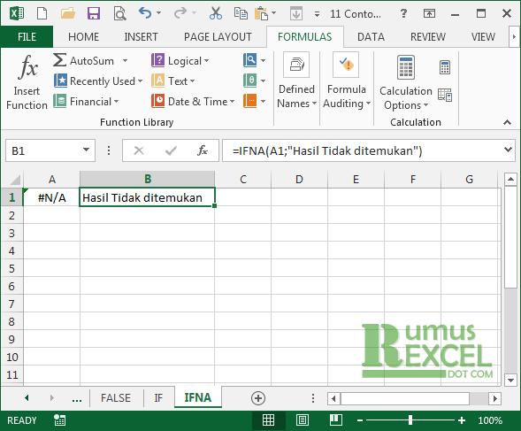 Contoh Rumus / Fungsi IFNA di Excel
