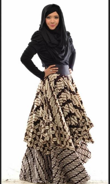 model baju gamis batik pesta terbaru