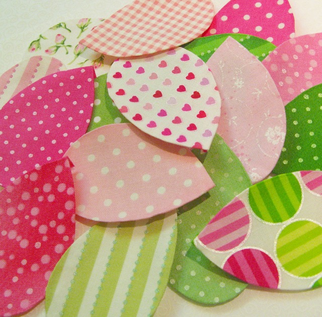 Preppy, pink and green applique pieces for Hooterville quilt