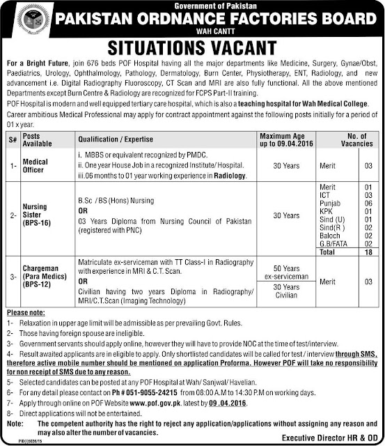 MBBS Doctors & Nurses Jobs in Pakistan Ordinance Factories Board Wah Cantt