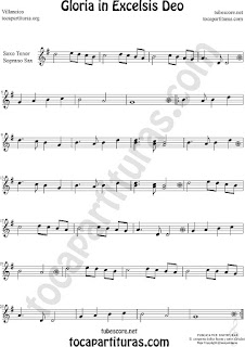 Soprano Sax y Saxo Tenor Partitura de Gloria in excelsis deo Villancico Sheet Music for Soprano Sax and Tenor Saxophone Music Scores