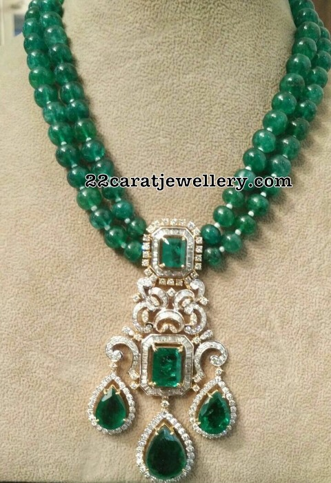 Jumbo Emerald Beads Set with Diamond Locket