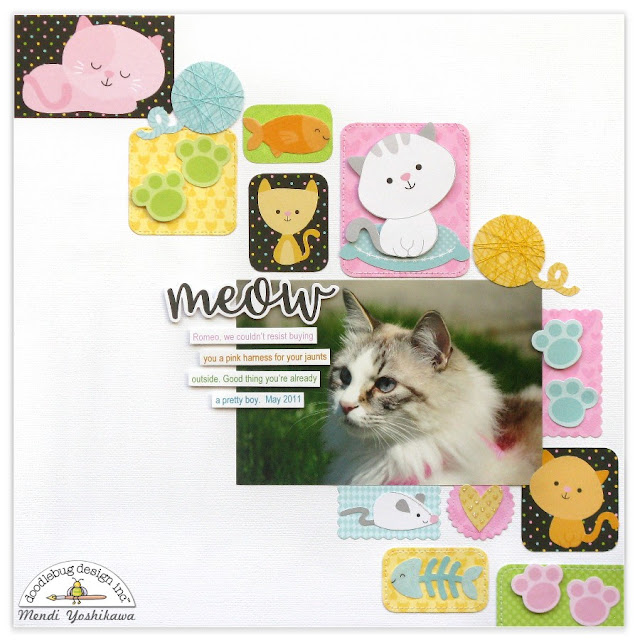 Doodlebug Design: A Smitten Kitten Cat Layout showing 4 ways to dress up Odds & Ends Die-cuts by Mendi Yoshikawa