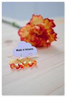 boucles d'oreilles estampes dorées et perles jaune et orange à facettes