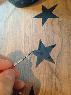 handpainted navy stars on round game table
