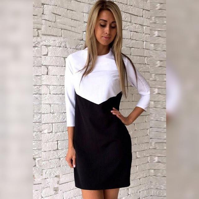 Μακρυμάνικο κοντό μαύρο με άσπρο φόρεμα DORINA BLACK
