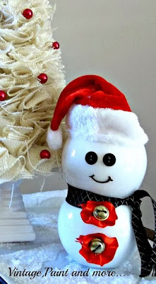 Vintage, Paint and more... snowman made by painting two votive candle holders and adding embellishments