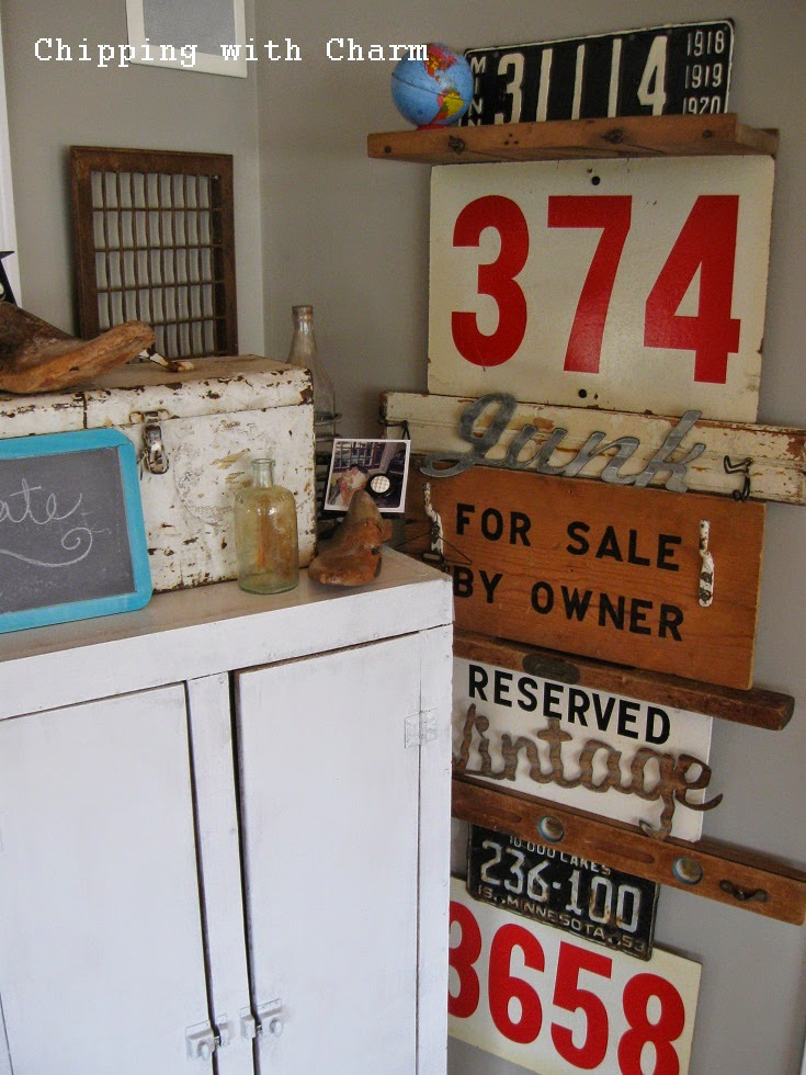 Chipping with Charm:  Junkers United, Crazy Signs and Hooks Wall...http://www.chippingwithcharm.blogspot.com/