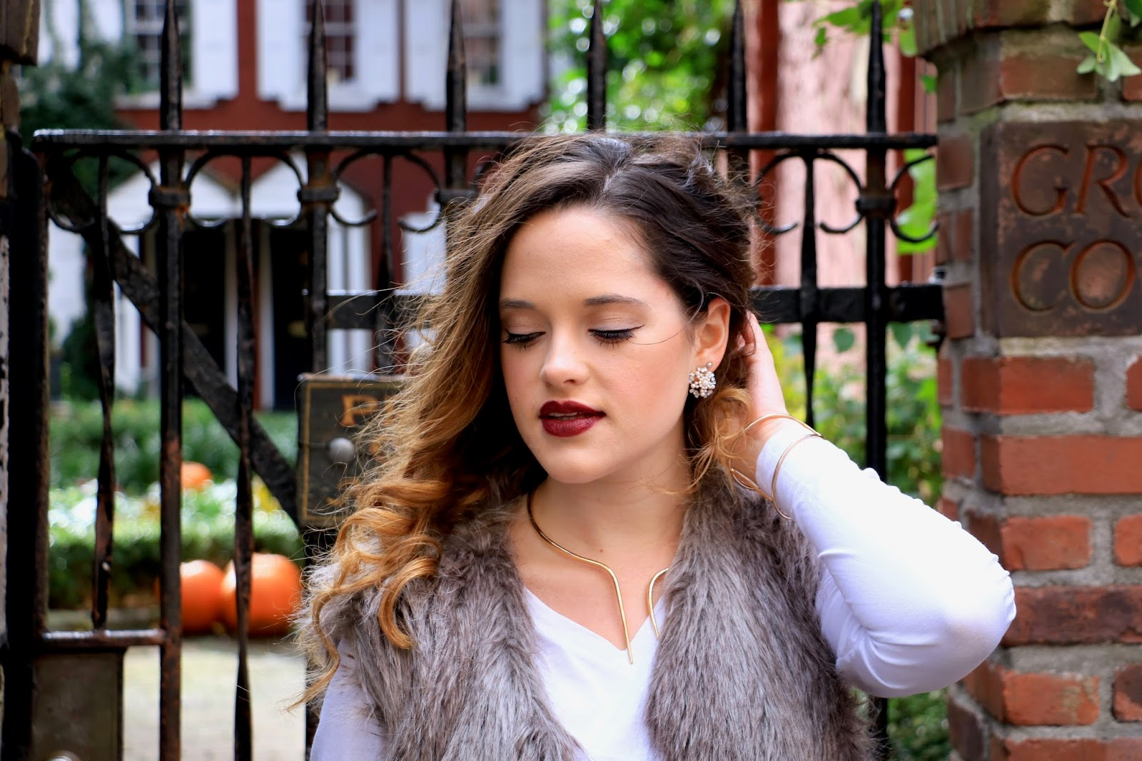 Nyc beauty blogger Kathleen Harper showing how to wear dark lipstick