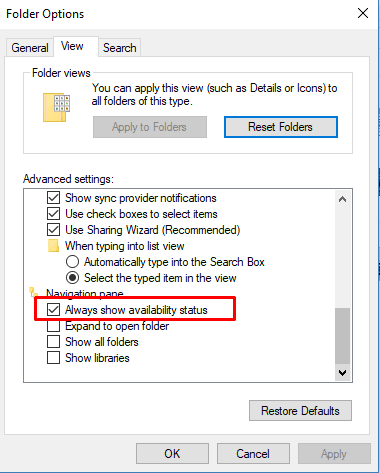 How to Always Show Availability Status in File Explorer Windows 10