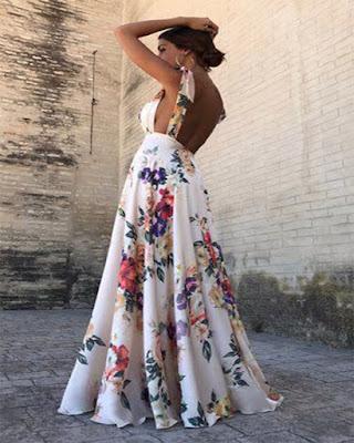 vestido de flores largo elegante de navidad