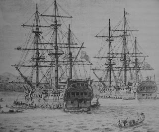 Malaspina's two frigates, drawn by Fernando Brambilla, one of a number of artists who accompanied the expedition