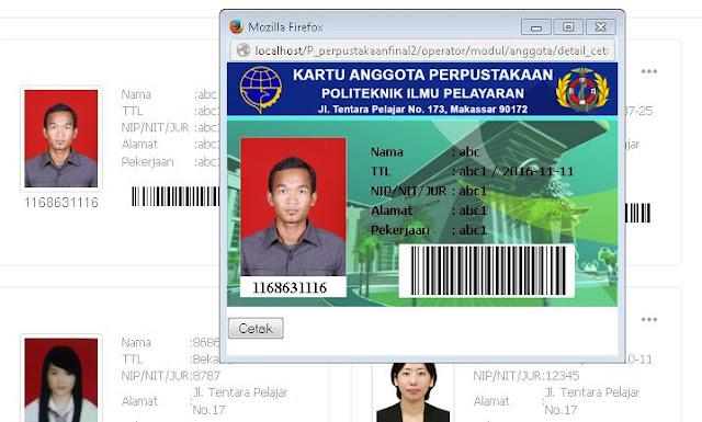 Software Perpustakaan Suport Barcode  Cetak Kartu Anggota