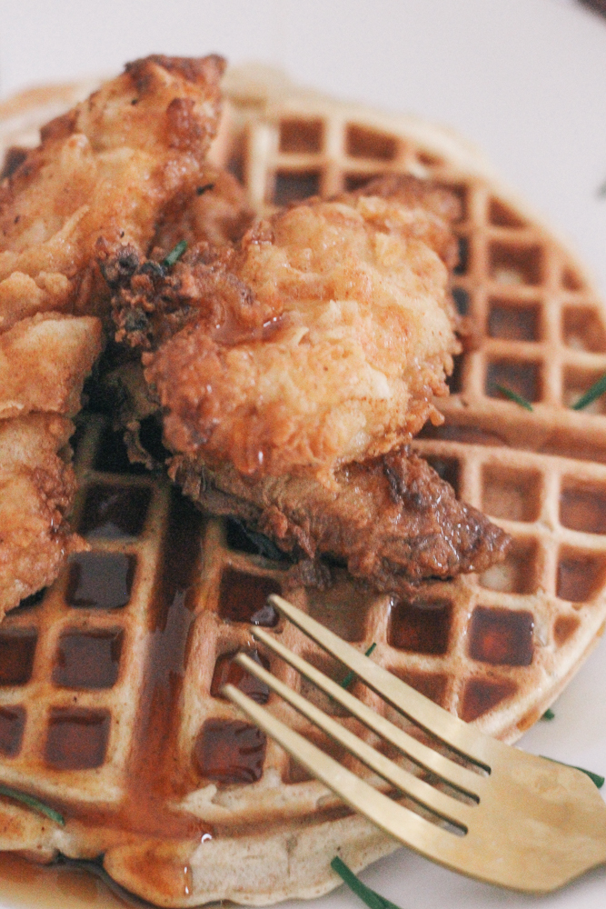 Boston Life & Style Blogger, The Northern Magnolia, is sharing her South Meets New England recipe for Smoky Fried Chicken and Apple Cider Waffles. The sweetness of the apple cider waffles and chili smokiness from the chicken and syrup will keep you craving more!