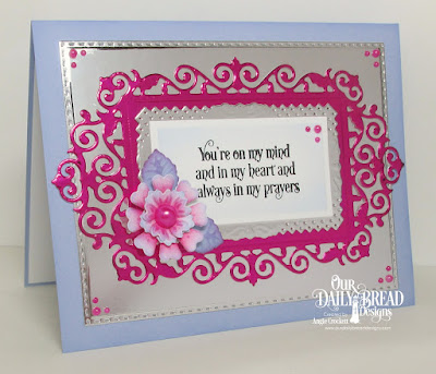 ODBD Faith Card Sentiments, ODBD Custom Filigree Frames Dies, ODBD Custom Rectangles Dies, ODBD Custom Pretty Posies Dies, ODBD Custom Birds and Nest Dies, Card Designer Angie Crockett