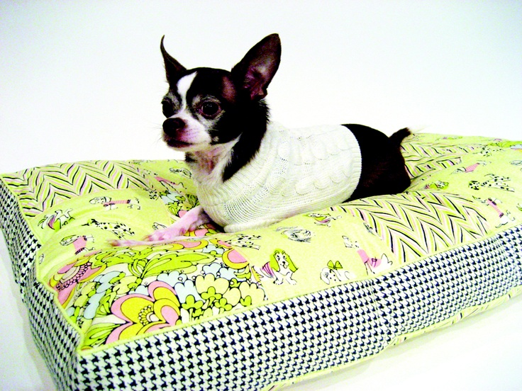 This bright dog bed is a simple DIY made with colorful fabric