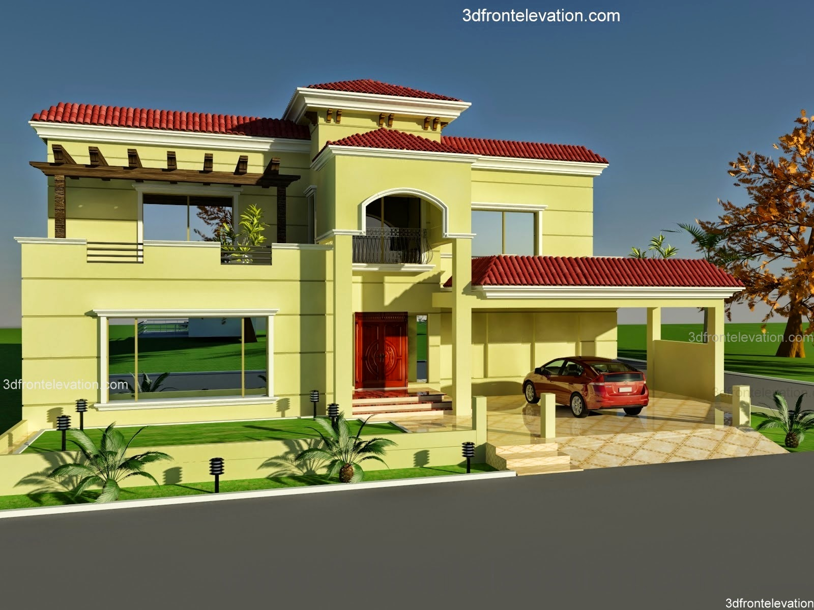 3d Front Elevation Com  Wapda Town 1 K