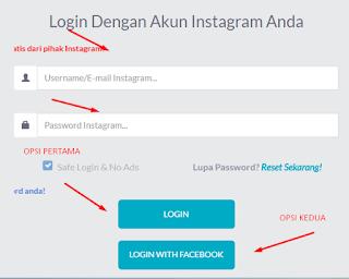 pilih opsi masukan data instagram atau lewat login with facebook