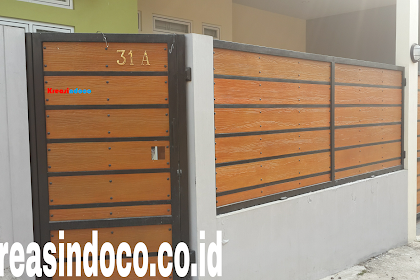 10 Model Pintu Pagar Besi Kombinasi GRC Wood Plank