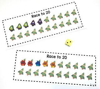 Mini Eraser Activities, Race to 20