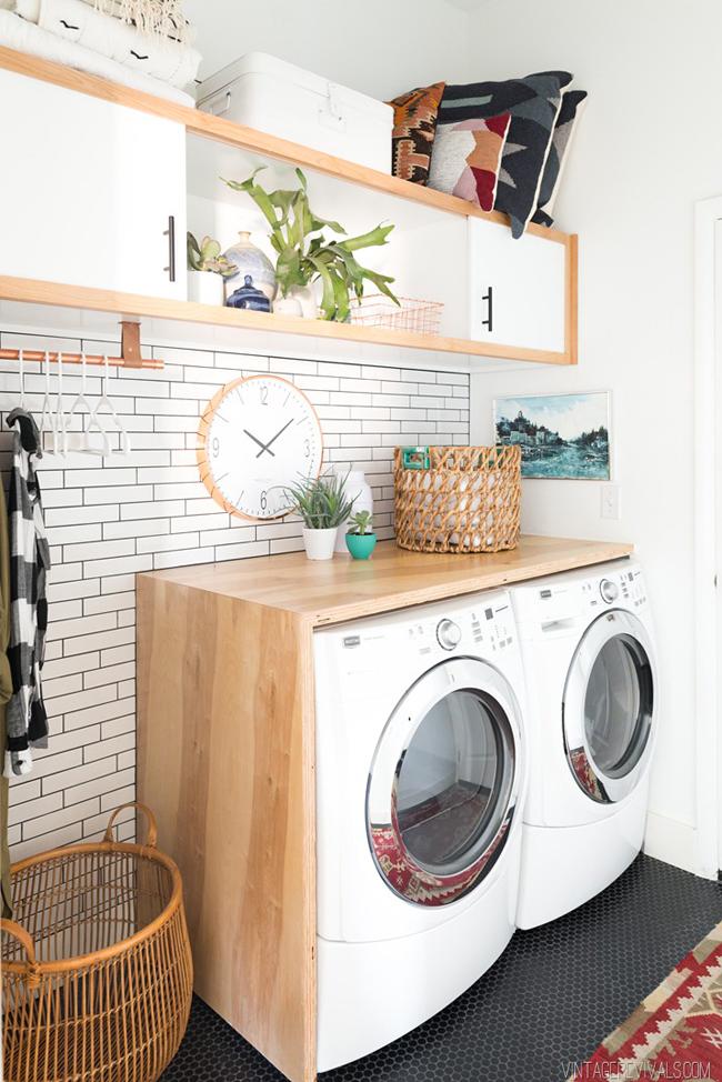 Espacio para la lavadora low cost y con mucho estilo
