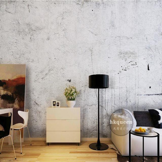 betongtapet ljus grå tapet vardagsrum betongvägg